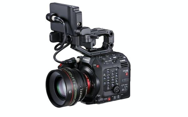 キヤノンが12月下旬に発売する映像制作に対応したカメラ「EOS C500 Mark 2」。別売りのレンズ「CN-E85mm T1.3 L F」装着時。