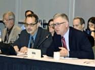 中西部太平洋まぐろ類委員会(WCPFC)の北小委員会の会合で発言する米国代表団(3日)=共同