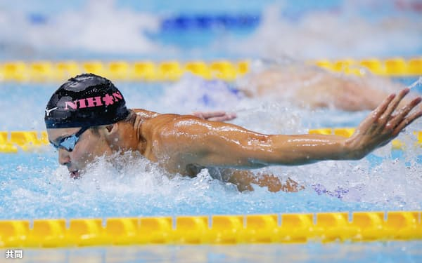 男子100メートルバタフライ決勝 51秒11の大会新で優勝した石川慎之助(7日、東京辰巳国際水泳場)=共同