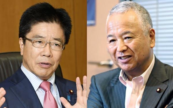 自民党の加藤勝信総務会長(左)と甘利明選挙対策委員長