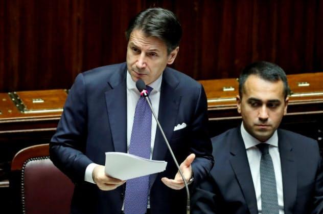 9日、イタリア下院で所信表明演説に臨むコンテ首相=ロイター