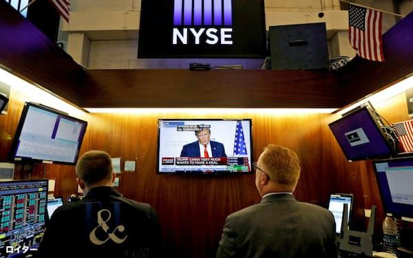 株式市場はトランプ氏発言で不安定に(ニューヨーク証券取引所)=ロイター
