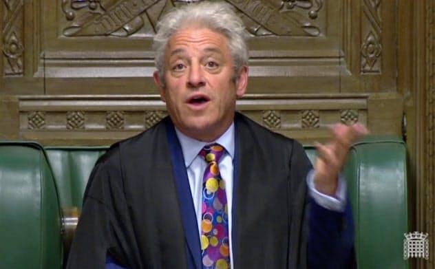 辞意を表明したバーコウ英下院議長=ロイター