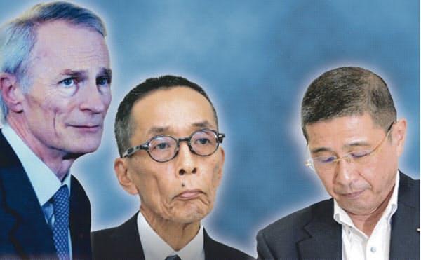 9日に開かれた日産の取締役会では激しいやりとりがあった(右から西川社長、山内COO、仏ルノーのスナール会長)