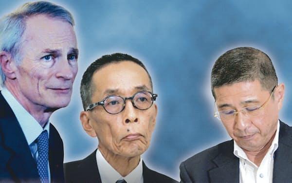 右から西川社長、山内COO、仏ルノーのスナール会長