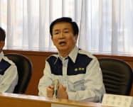 早急な被害復旧を指示する千葉県の森田健作知事(10日午前、千葉県庁)