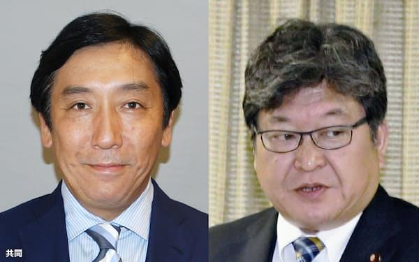 菅原一秀氏(左)と萩生田光一氏=共同