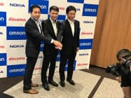 NTTドコモ、ノキア、オムロンの3社は5Gを活用した実証実験を始める(9月10日、東京都千代田区)