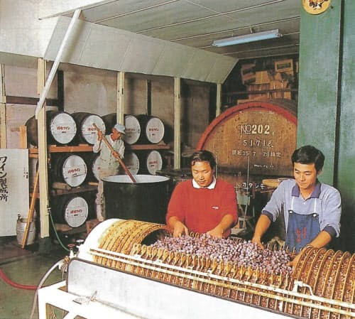 朝から晩までワイン造りに奮闘した35歳の頃(一番右が高井さん)。左奥は父で3代目の高井利一さん