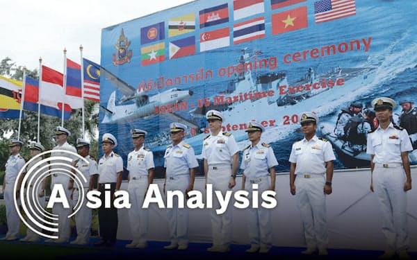 米国とASEANの初の合同軍事演習には、米が幹部に制裁を科しているはずのミャンマー軍も参加した(9月2日、タイ東部チョンブリ県)=石井理恵撮影