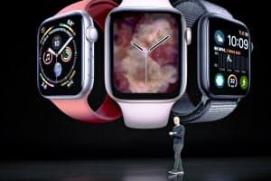 アップルウオッチは健康監視の機能を充実させた(10日、クパチーノ)=AP