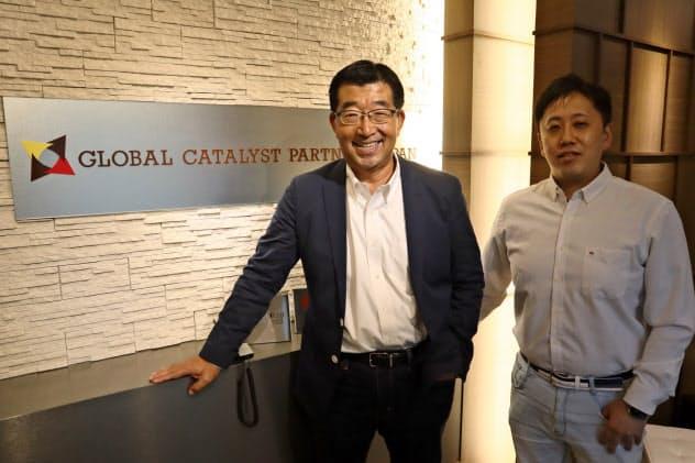 グローバル・カタリスト・パートナーズ・ジャパンの大沢弘治代表(左)と平出亮氏