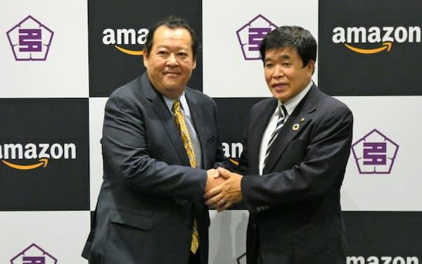 11万人の人口を抱える多治見市で実証実験する(アマゾンジャパンのジェフ・ハヤシダ社長(左)ら)