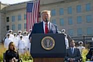 11日、トランプ米大統領は同時多発テロから18年の記念式典で演説した(国防総省)=AP