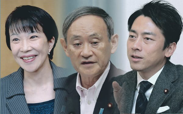 左から高市総務相、菅官房長官、小泉環境相(コラージュ)