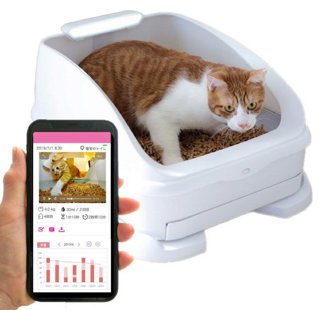 猫のスマートトイレ「toletta2」はスマートフォンで様々なデータやトイレの様子の動画が見られる