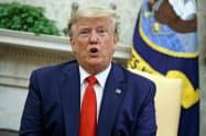 トランプ米大統領は北朝鮮に対する経済制裁の緩和に応じておらず、米政権はサイバー攻撃に厳しい姿勢を示した(11日、ワシントン)=AP