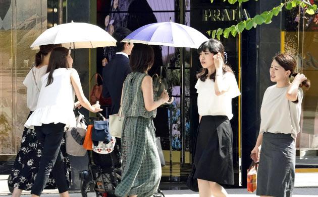 暑い日が続いた(10日、東京・銀座)