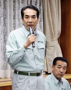 農水省の豚コレラ防疫対策本部の会合で発言する江藤農相(14日午後、東京都千代田区)=共同