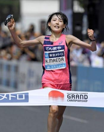 「マラソングランドチャンピオンシップ」(MGC)の女子で優勝し、2020年東京五輪の日本代表に決まった前田穂南(15日、東京・明治神宮外苑)=共同