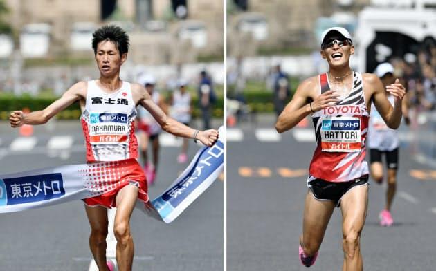 中村が優勝、服部2位で代表に マラソン五輪選考会