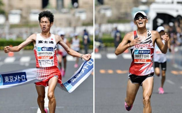 MGCの男子で1位でゴールした中村匠吾(写真左)と2位の服部勇馬(15日、東京・明治神宮外苑)