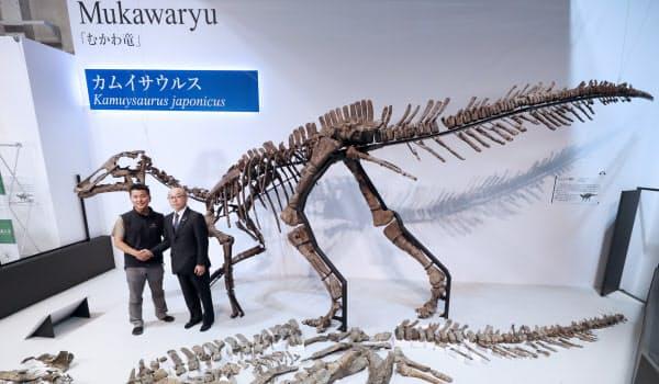 小林は北海道むかわ町で発見された恐竜を「カムイサウルス」と命名した(東京都台東区の国立科学博物館)