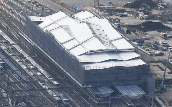 建設が進む山手線の新駅「高輪ゲートウェイ」(東京都港区)
