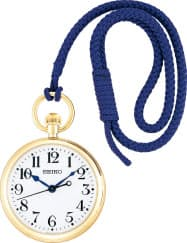 イエローゴールドの時計にパープルの提げひもを付けた。