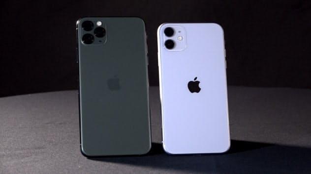 「iPhone11 Pro Max」(左)と「iPhone11」(右)