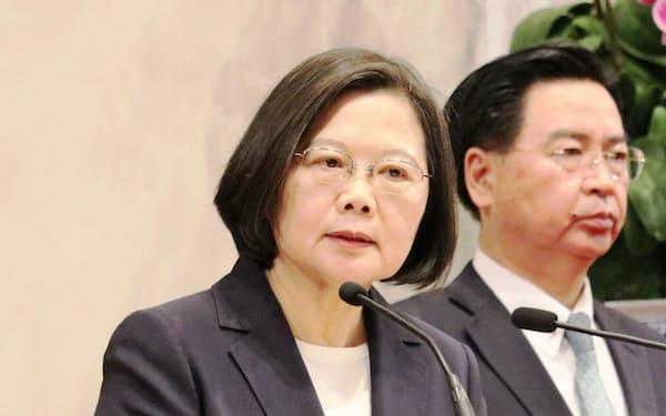 台湾与党・民進党の蔡英文総統(16日、台北市内)