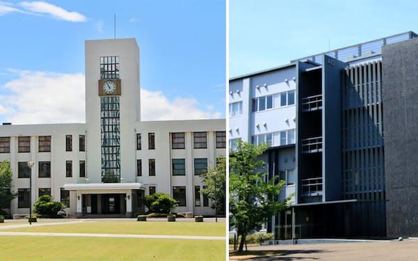 大阪市立大の杉本キャンパス(左)と大阪府立大の中百舌鳥キャンパス
