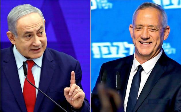 17日のイスラエル総選挙で、ネタニヤフ首相の与党リクードと、ガンツ元軍参謀総長らが率いる中道野党連合「青と白」が接戦となった=ロイター