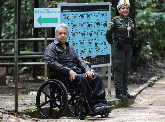 エクアドルのモレノ大統領(6日、コロンビア南部レティシア)=ロイター