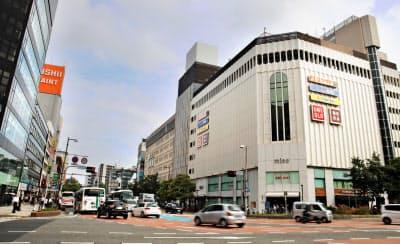 福岡県の商業地で上昇率がトップだった「ミーナ天神」と「ノース天神」辺り(福岡市中央区)