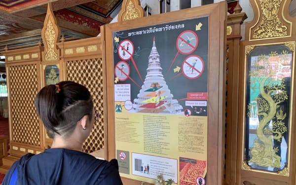 参拝の禁止事項を伝える看板(バンコクのワット・パクナム)
