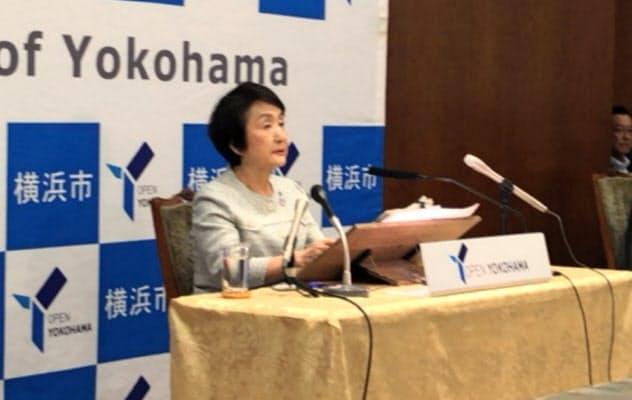 住民投票の実施は改めて否定した(横浜市役所、18日)