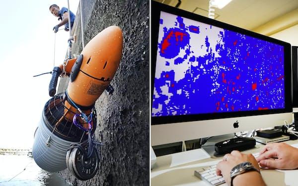 プラスチック片を回収するピリカの機器(写真左)と川ごみの分析画面