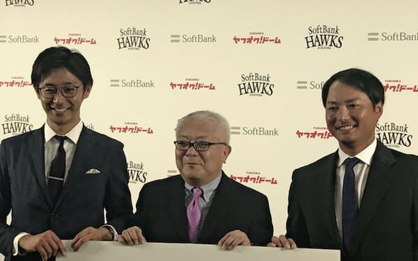 摂津正さん(右)らプロ野球OBへの需要は多い(ヤフオクドーム)