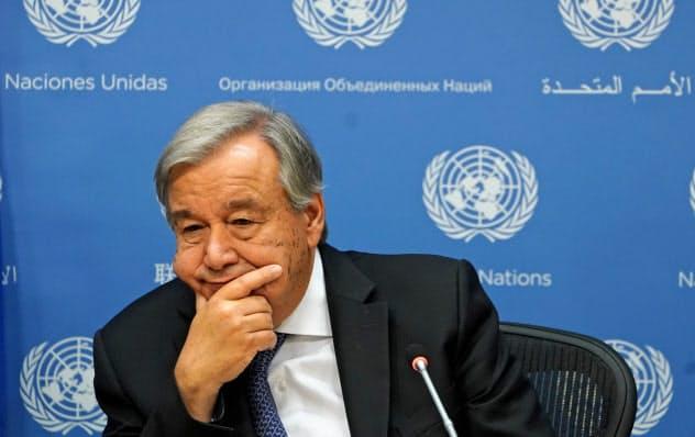 国連のグテレス事務総長(18日、ニューヨーク)=ロイター