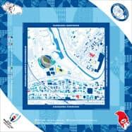 試合会場エリアの住宅地図デザインをあしらったバンダナ(横浜バージョン)