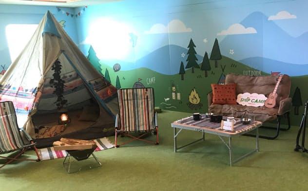 客室の一部をキャンプ風に改装した阪九フェリーの「やまと」