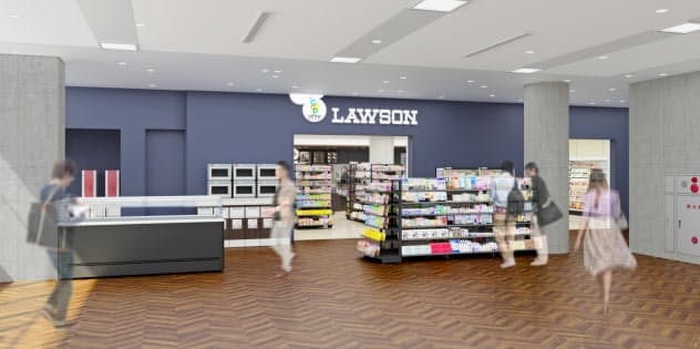 ローソンは、冷蔵・冷凍機器が完全ノンフロンの店舗を出店する(「ローソン慶応義塾大学SFC店」の外観イメージ)