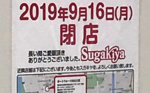 閉店を知らせる貼り紙(名古屋市港区の店舗)