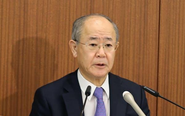 民放連の大久保会長はNHKのネット業務の実施基準案について懸念を示した(19日午後、東京・千代田)