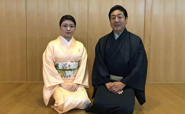 東西名流舞踊鑑賞会に出演する若柳壽延(右)と娘の佑輝子