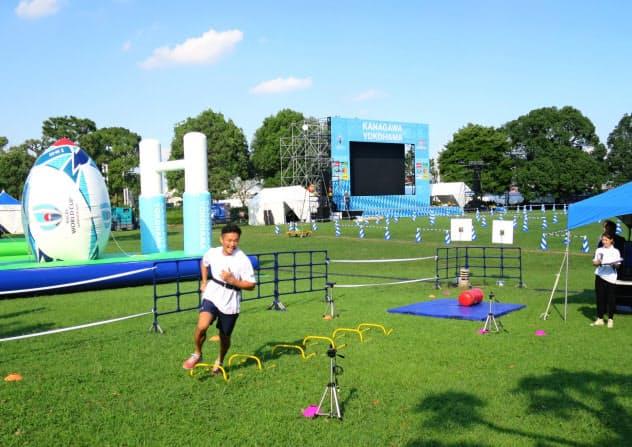 大型スクリーンやラグビーが体感できる遊具などを設ける(横浜市)
