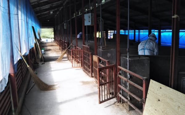 高森町の農場での防疫作業(長野県提供)