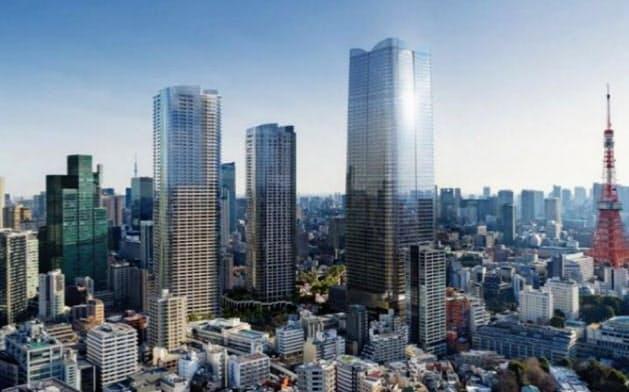 高さ330メートルの「メインタワー」を含む3棟の超高層建築を2023年に完成させる(虎ノ門・麻布台プロジェクトの完成イメージ)