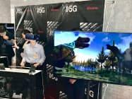 VRと振動などを組み合わせた体感型のコンテンツを展示した(20日、高松市)